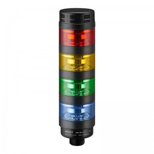 70mm High intensity LED tower light, transparent lens, steady, Red/Yellow/Green/Blue, 1m cable with lead wires, 24V DC, IP53, 95dB audible alarm