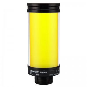 50mm multicolor LED tower light, diffused lens, steady, Red/Yellow/Green, 1m PVC cable with lead wires, 24V DC, IP65