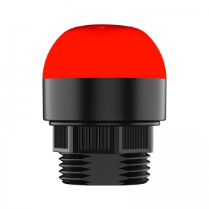 30mm multicolor LED beacon, diffused lens, steady, Red/Yellow/Green, 1m PVC cable with lead wires, 24V DC, IP69K
