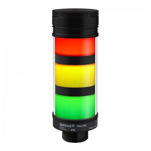 50mm LED tower light, diffused lens, flashing, Red/Yellow/Green, 1m cable with lead wires, 24V DC, IP53, 95dB staccato alarm