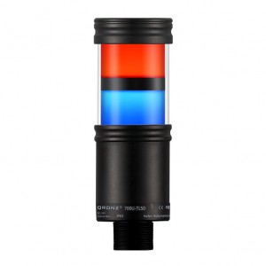 50mm LED tower light, 2 stacks, diffused lens, Red flashing, Blue flashing, lead wire, 100 - 260 VAC, IP65