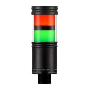 50mm LED tower light, 2 stacks, diffused lens, Red flashing, Green flashing, lead wire, 100 - 260 VAC, IP65