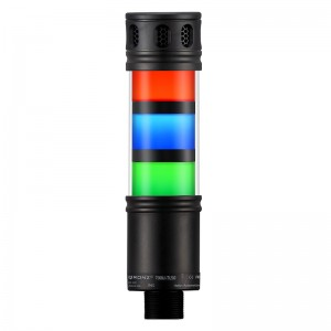 50mm LED tower light, 3 stacks, diffused lens, continuous buzzer with adjustable volume, Red flashing, Blue Steady, Green steady, lead wire, 100 - 260 VAC, IP53