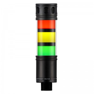50mm LED tower light, 3 stacks, diffused lens, intermittent buzzer with adjustable volume, Red flashing, Yellow Steady, Green steady, lead wire, 100 - 260 VAC, IP53