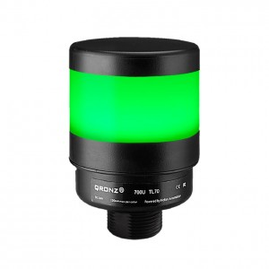 70mm LED tower light, diffused lens, steady, Green, 1m cable with lead wires, 24V DC, IP65