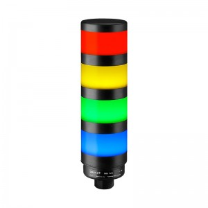 70mm LED tower light, diffused lens, steady, Red/Yellow/Green/Blue, 1m cable with lead wires, 24V DC, IP65