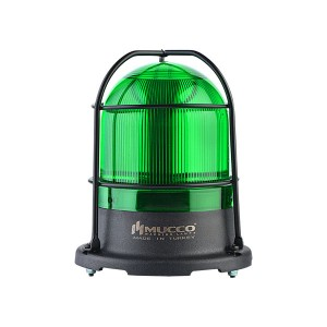 100mm Domed Beacon 5X3W Power LED, Green steady/flashing/strobing/rotary/Right-Left strobing, 88-112dB alarm with 10 melodies, IP65, water/dust/heat/UV Ray resistant, 12-24VAC/DC