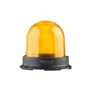 125mm  Domed Beacon, Yellow steady/flashing/strobing/rotary/Right-Left strobing, 85-110dB alarm with 10 melodies, IP65, water/dust/heat/UV Ray resistant, 12-24VAC/DC