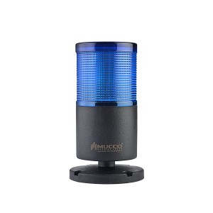 70mm LED signal tower, 1 tier with base, Blue steady/flashing, IP65, water/dust/heat/UV Ray resistant, 40-260VAC/DC