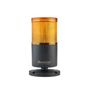 70mm LED signal tower, 1 tier with base, Yellow steady/flashing, IP65, water/dust/heat/UV Ray resistant, 40-260VAC/DC