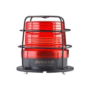 90mm  Flattop  Beacon, Red steady/flashing/strobing/rotary/Right-Left strobing, 85-110dB alarm with 10 melodies, IP65, water/dust/heat/UV Ray resistant, 12-24VAC/DC